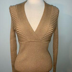 INC metallic gold ribbed long sleeve sweater
